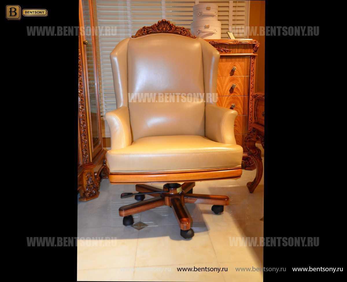 Кресло кабинетное Белмонт (Массив дерева, Кожа комбинированная) сайт цены