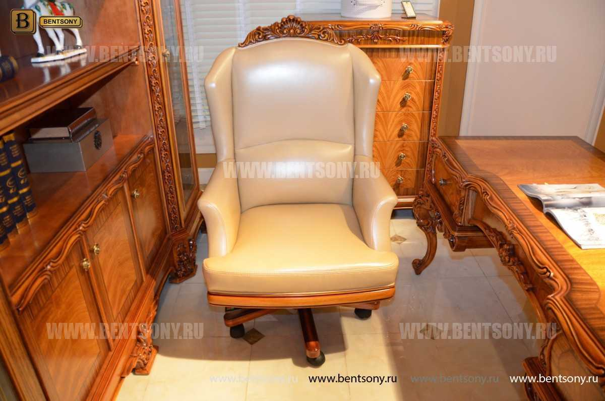 Кресло кабинетное Белмонт (Массив дерева, Кожа комбинированная) каталог мебели с ценами