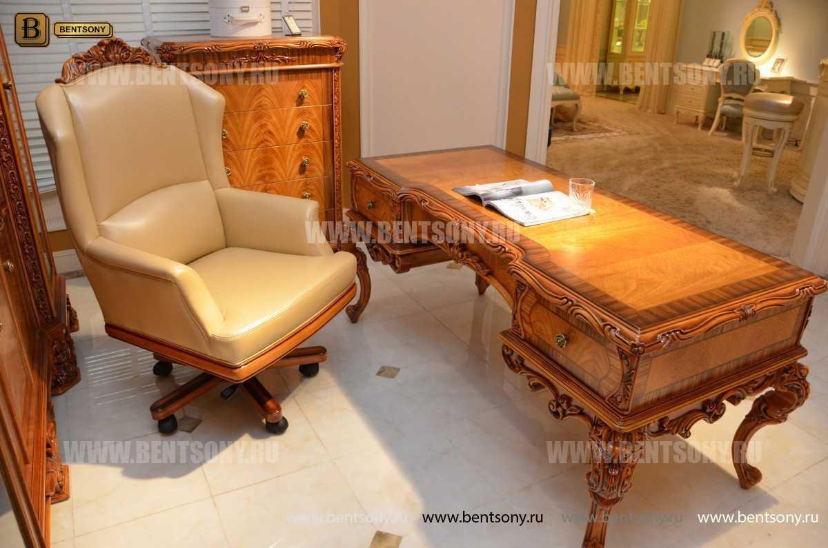 Кресло кабинетное Белмонт (Массив дерева, Кожа комбинированная) для квартиры