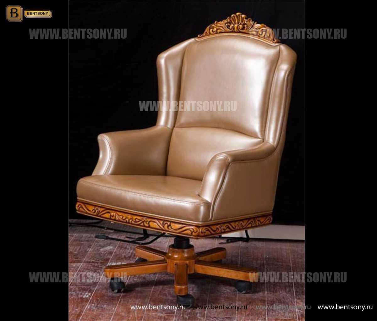 Кресло кабинетное Белмонт (Массив дерева, Кожа комбинированная) купить в Москве