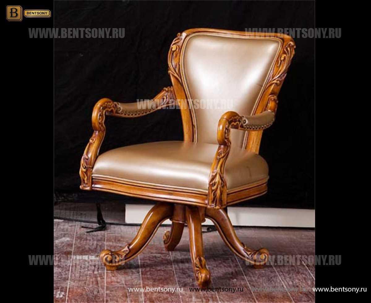 Кресло Белмонт вращающееся (Массив дерева, кожа, ткань) изображение