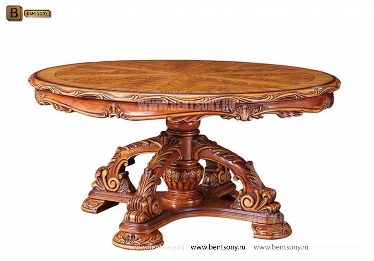Стол обеденный круглый Белмонт с сервировочной платформой (Классика, массив дерева) для загородного дома