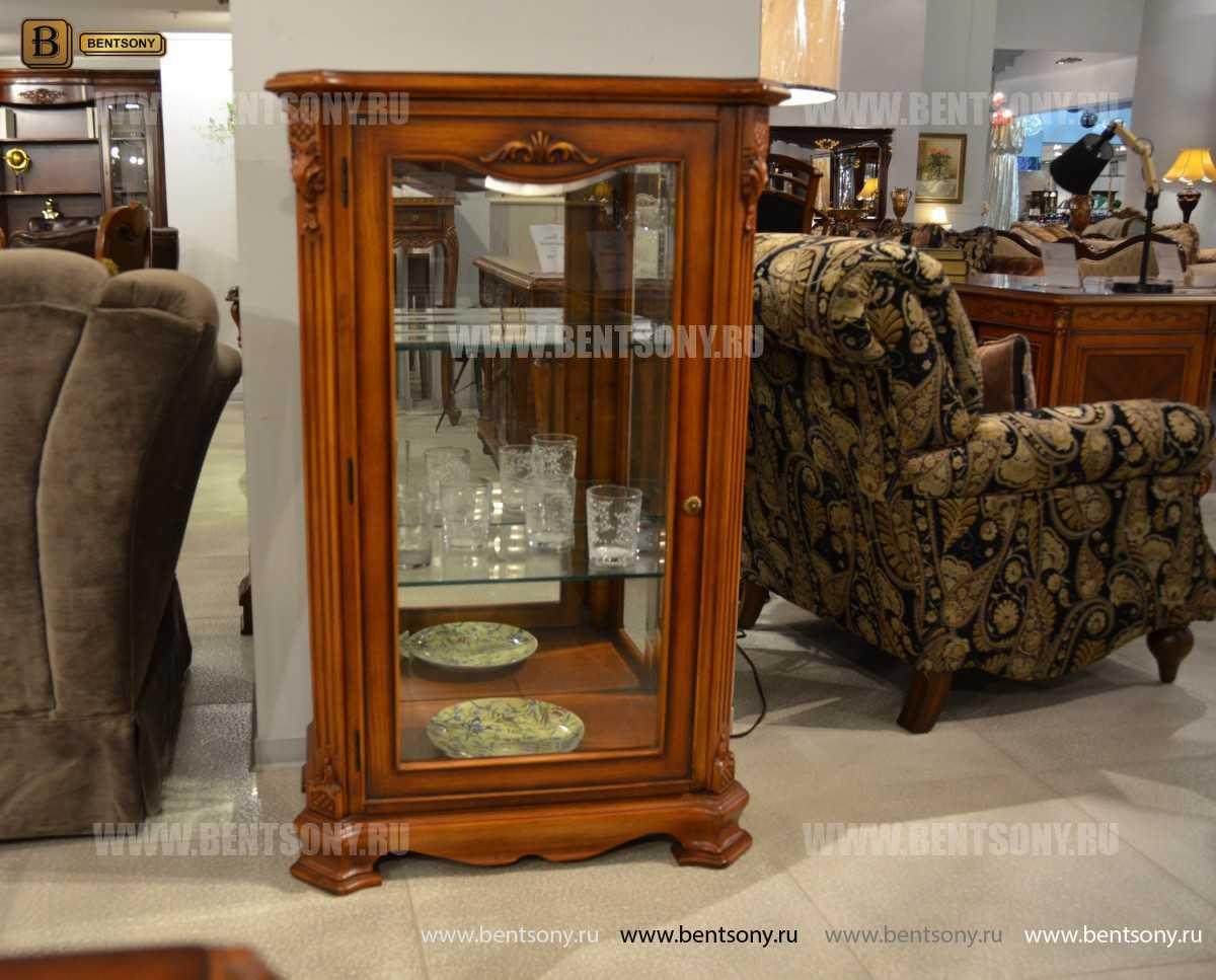 Витрина Феникс для предметов декора (Классика, массив дерева) для квартиры