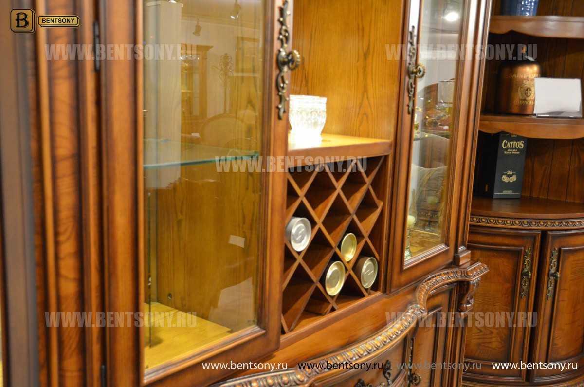 Барный шкаф 3-х дверный Монтана (Классика, массив дерева) для дома