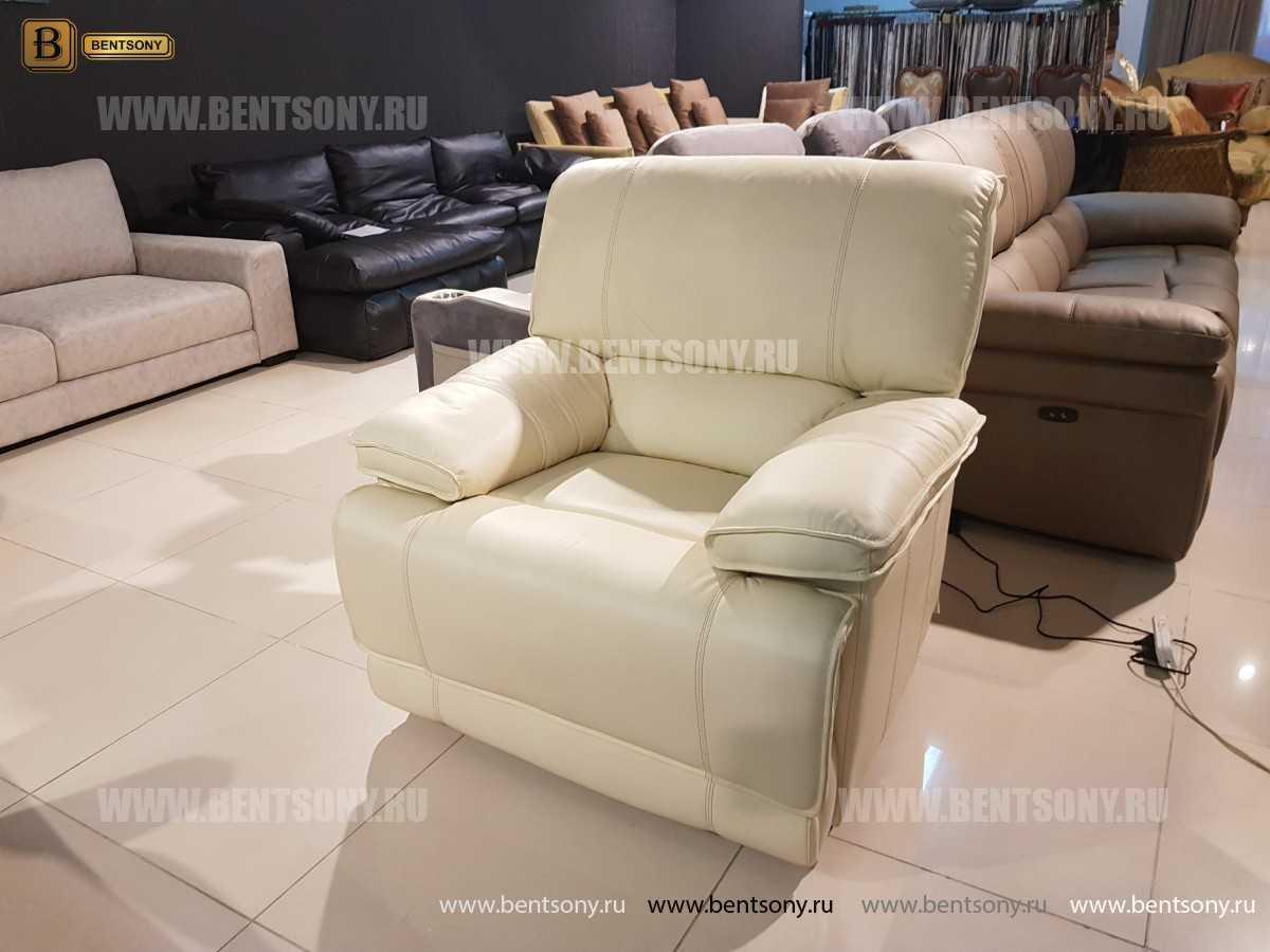 Кресло Капонело для кабинета (Реклайнер, Натуральная кожа) для дома