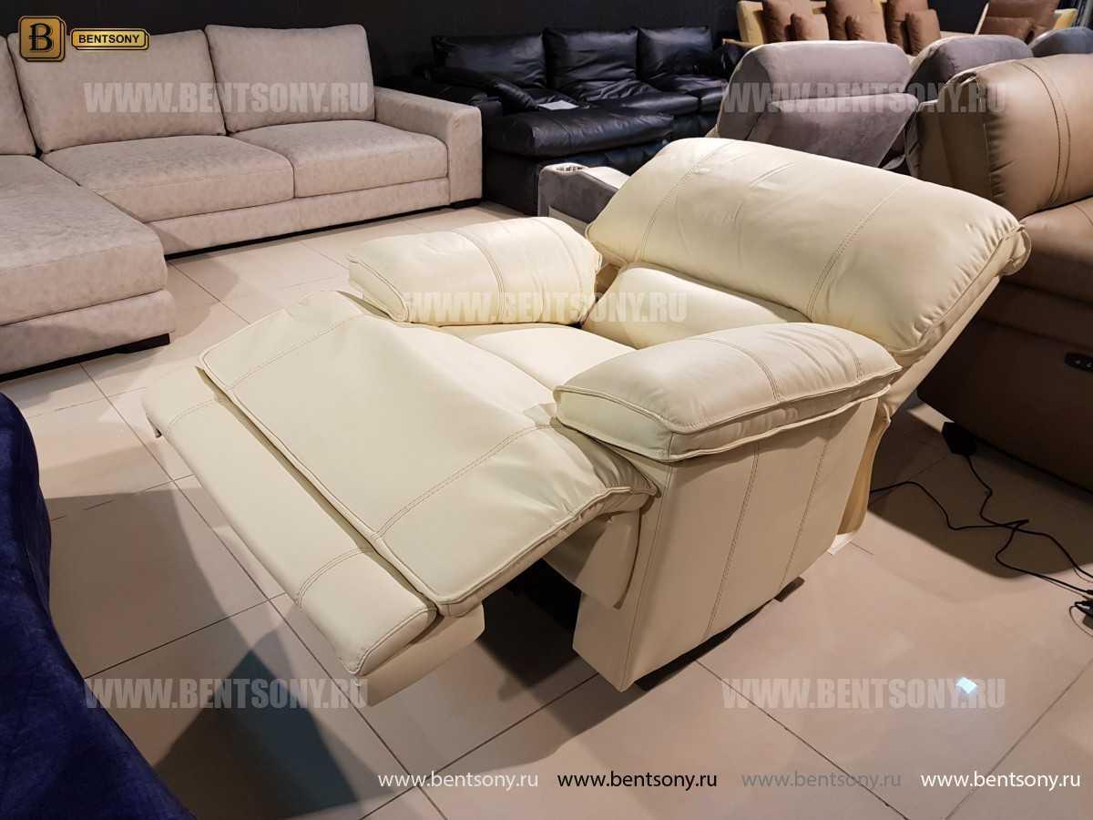 Кресло Капонело для кабинета (Реклайнер, Натуральная кожа) для загородного дома