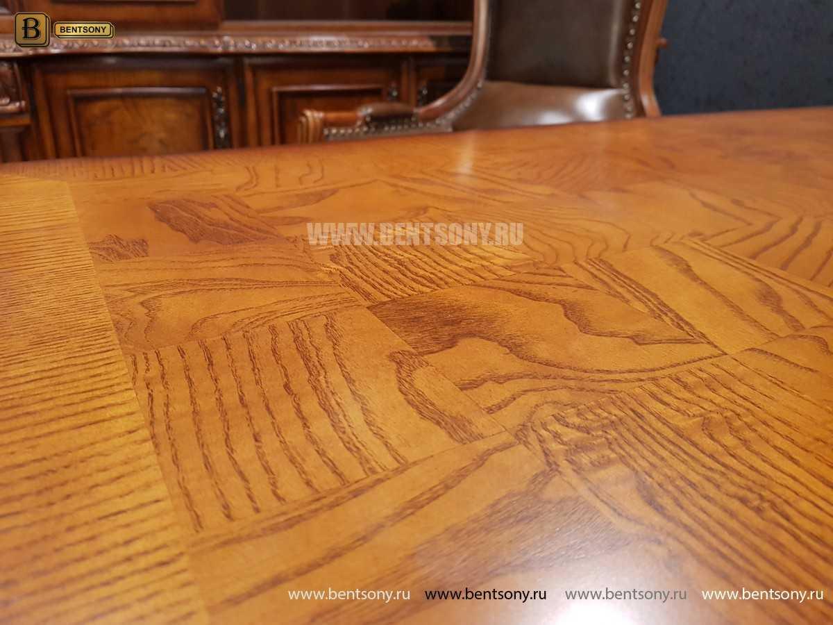 Письменный стол Монтана большой для кабинета (классика, массив дерева) для загородного дома