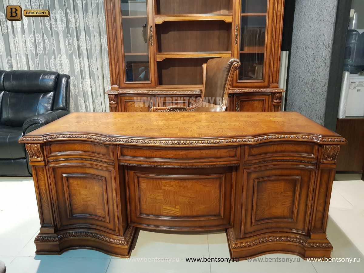 Письменный стол Монтана большой для кабинета (классика, массив дерева) для дома