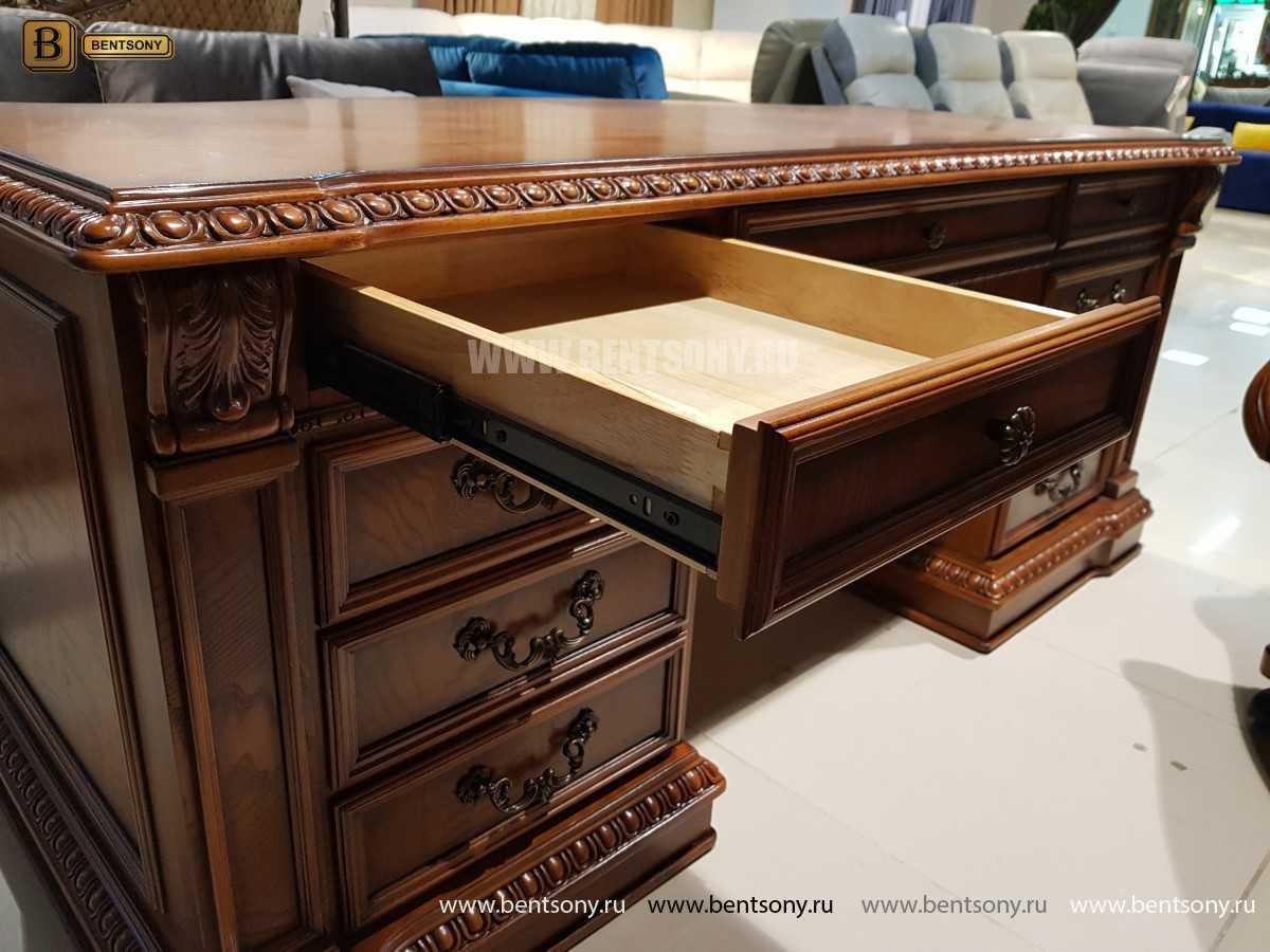 Письменный стол Монтана большой для кабинета (классика, массив дерева) в интерьере