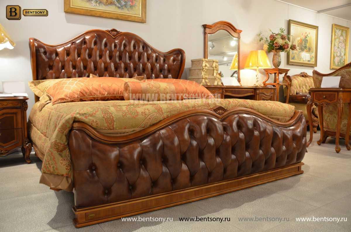 Кровать Флетчер А (Классика, Натуральная кожа) в интерьере