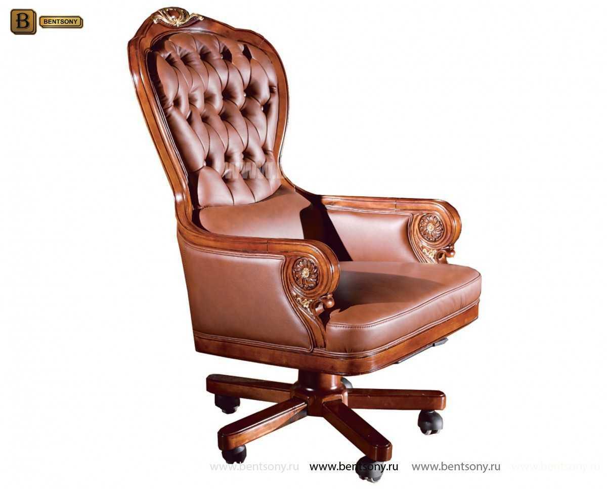 Кресло кабинетное Вагнер (Массив дерева, натуральная кожа) распродажа