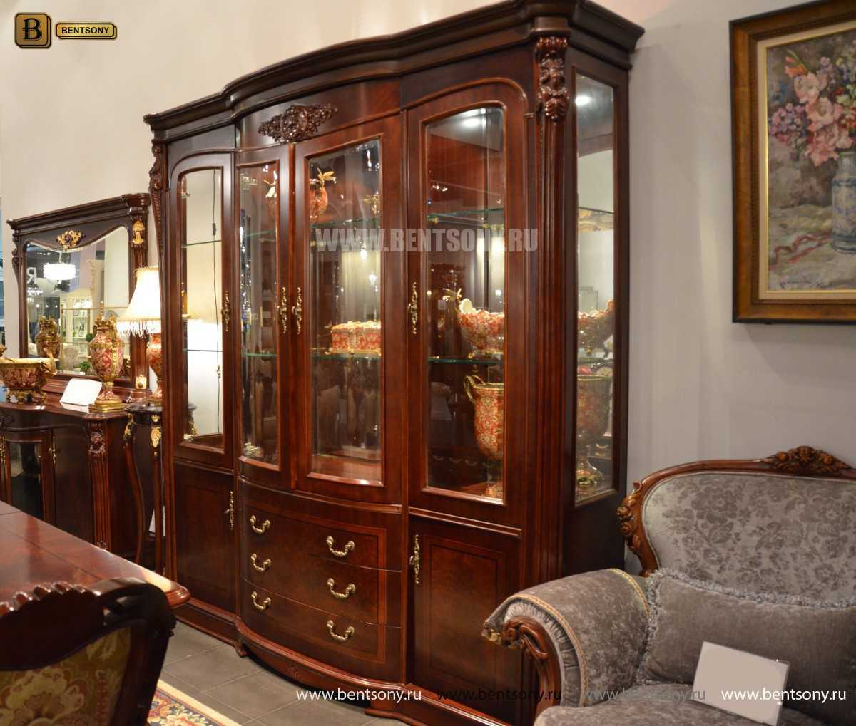 Витрина 4-х дверная Вагнер (Массив дерева, классика) каталог с ценами