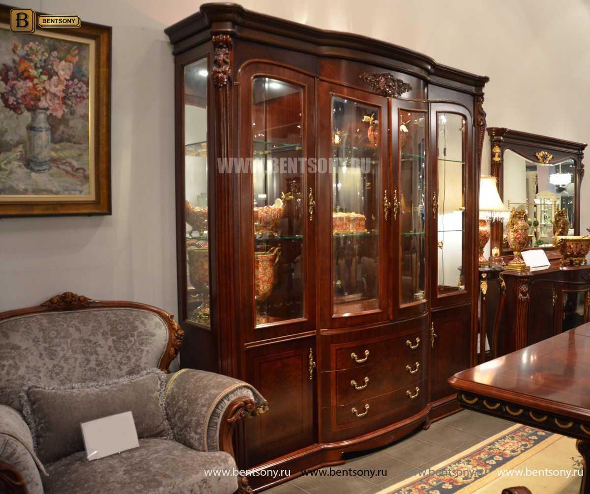 Витрина 4-х дверная Вагнер (Массив дерева, классика) каталог мебели с ценами