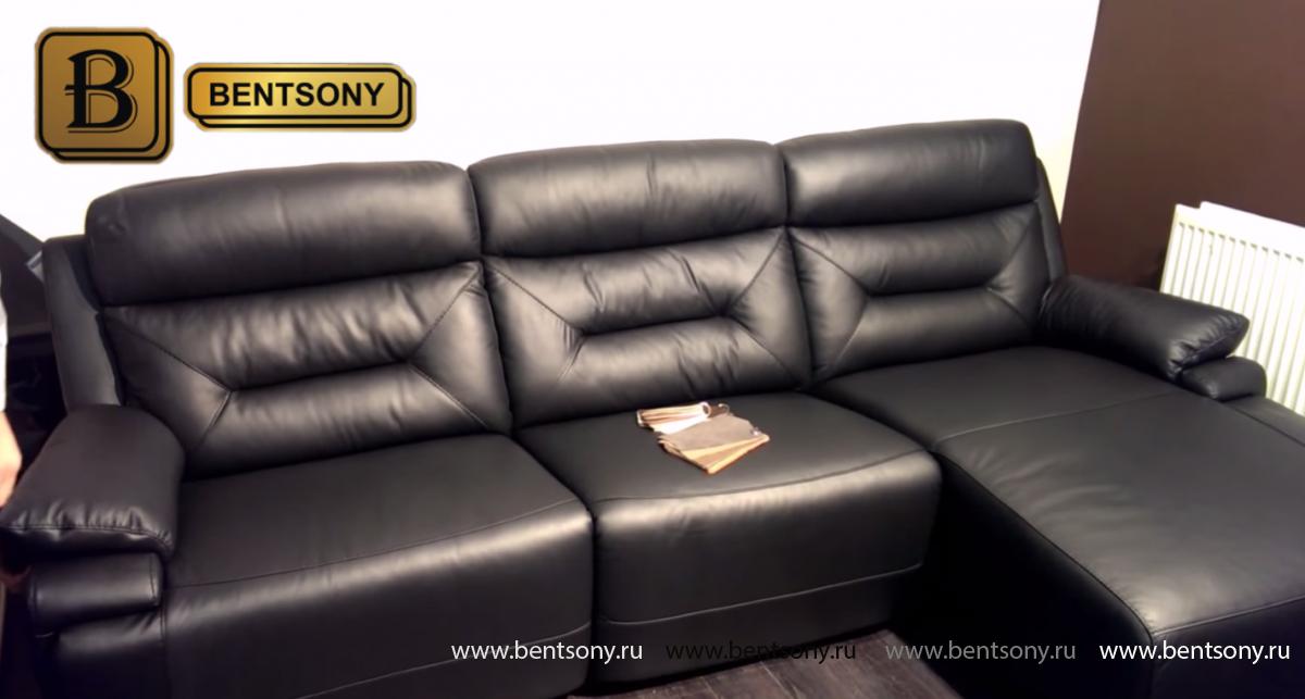 Черный кожаный диван Амелия