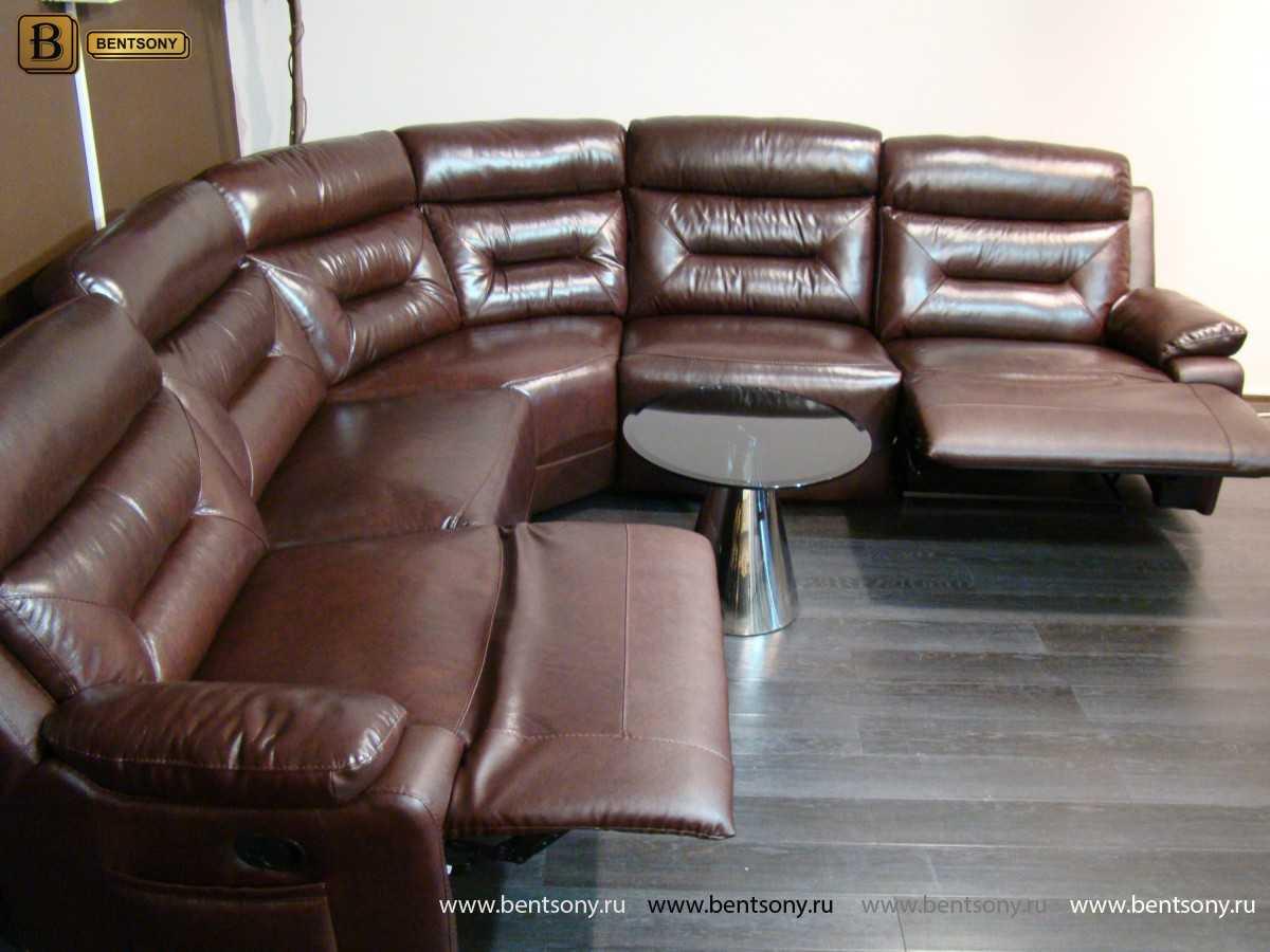 Коричневый кожаный диван угловой Амелия