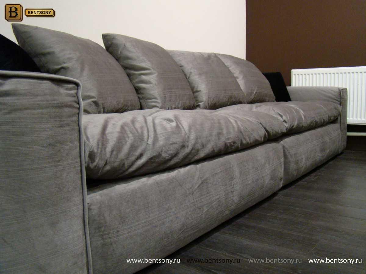 Серый прямой диван Бениамино