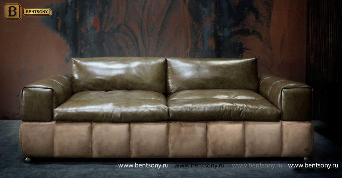 коричневый прямой диван Марчелло кожа и алькантара