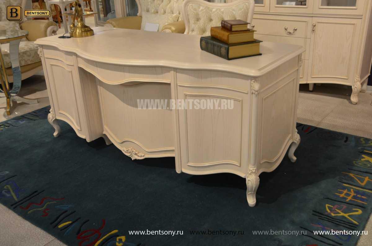 Письменный стол Флетчер-W (Классика, массив дерева) для квартиры
