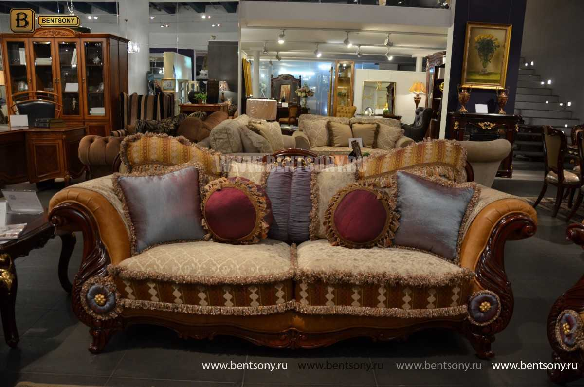 Диван Вагнер С (Классика, Ткань, подлокотники кожа) каталог мебели с ценами