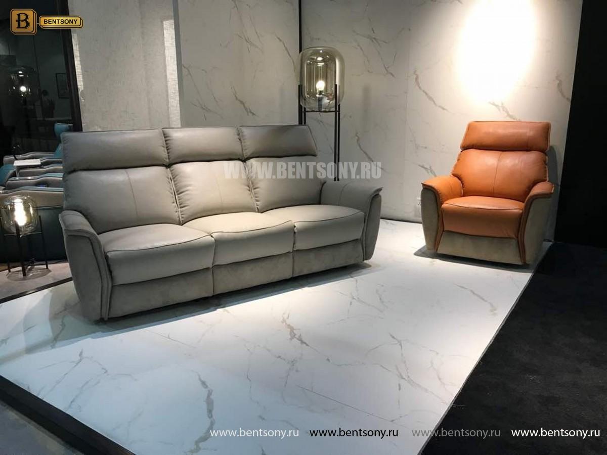 Кресло Венто (Реклайнер, Натуральная Кожа, Алькантара) изображение