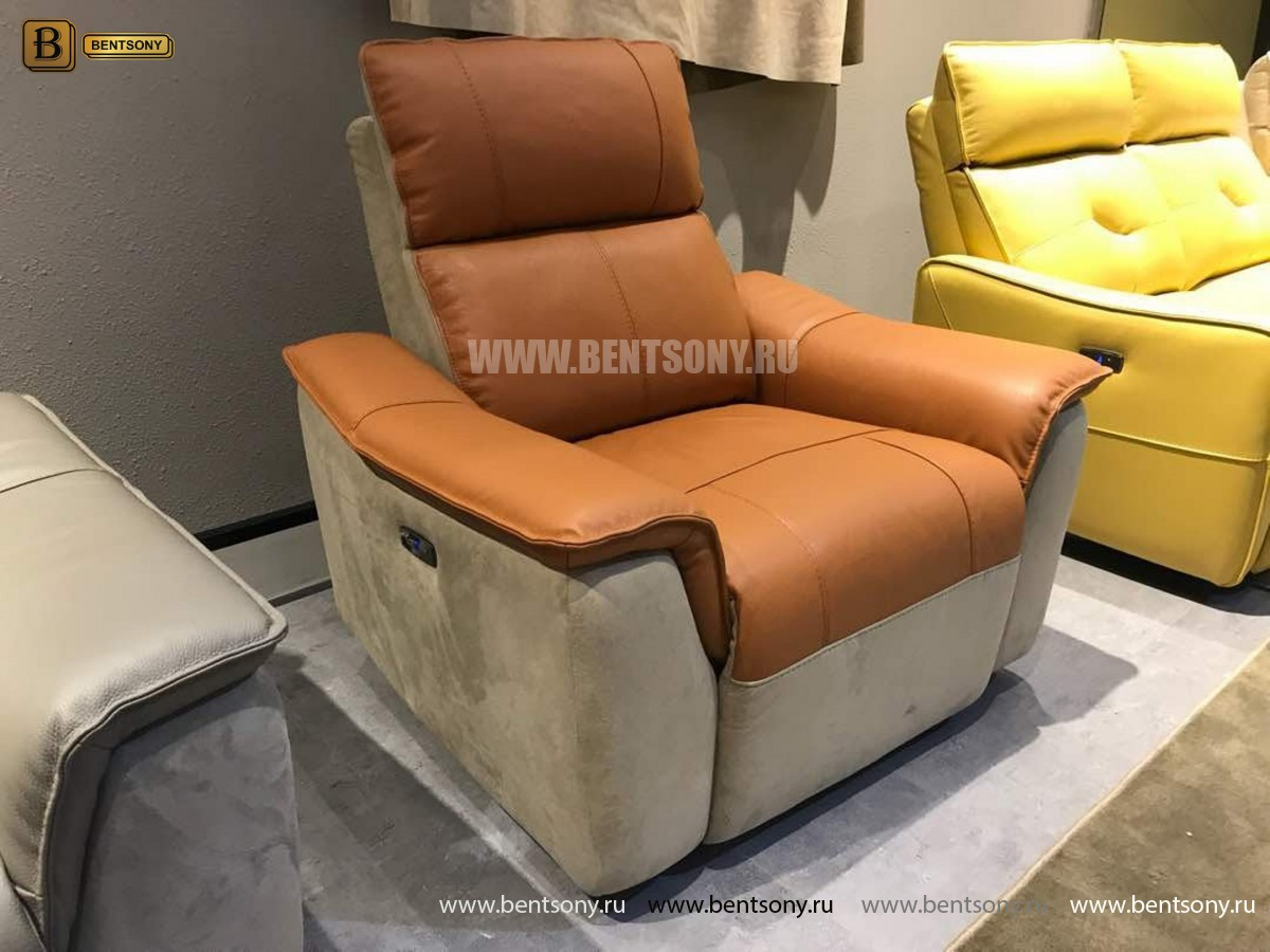 Кресло Либеро с реклайнером (Натуральная Кожа, Алькантара) сайт цены