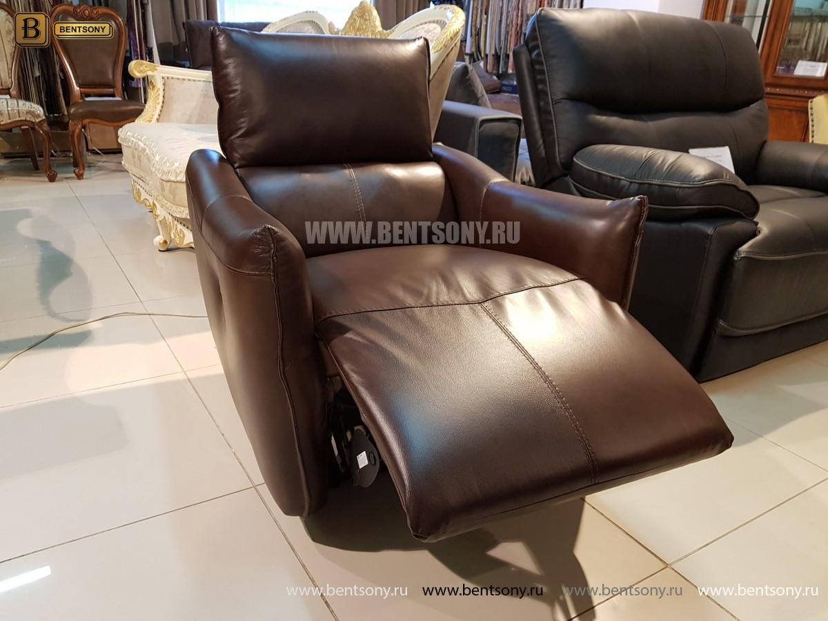 Кресло Порто цвет коричневый (Реклайнер, Натуральная кожа) в Москве