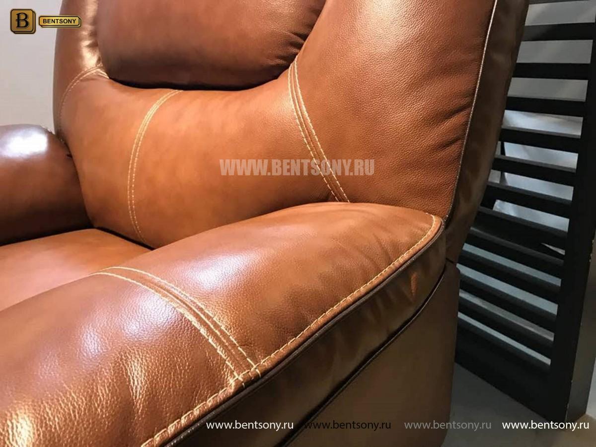 Кресло Прецо в коричневой обивке (Механизм качания, Натуральная Кожа) цена