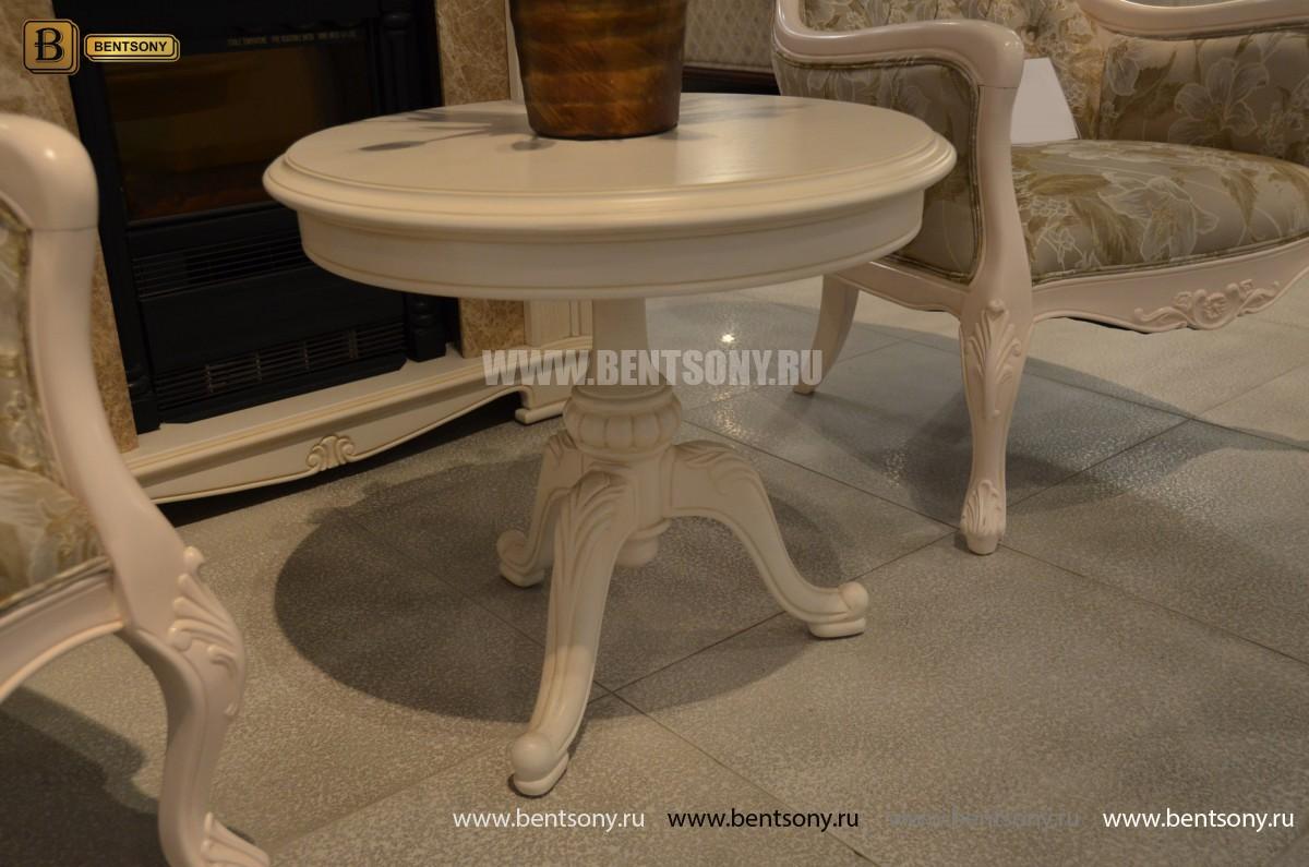 Стол журнальный круглый Флетчер-W(Классика, массив дерева) для квартиры
