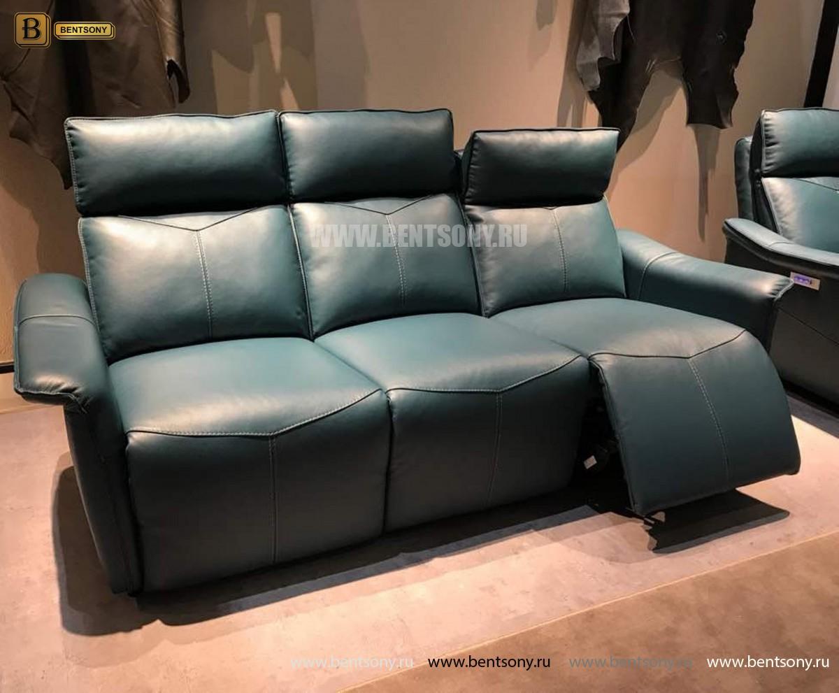 Диван Анголо зеленый (Прямой, Реклайнеры, Кожа) каталог мебели