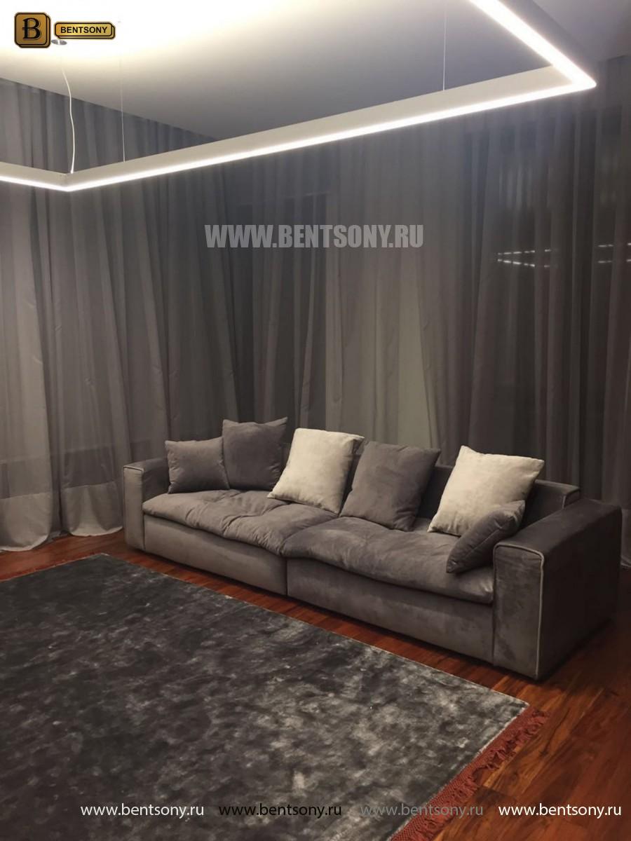 Диван Бениамино двойной, серый (Прямой) в интерьере