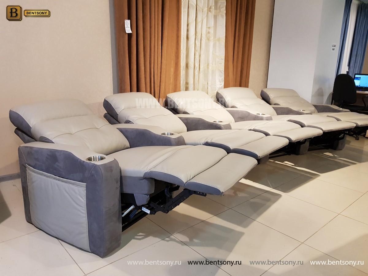 Диван Джинато многомодульный с реклайнерами, Кожа, Домашний кинотеатр) для квартиры