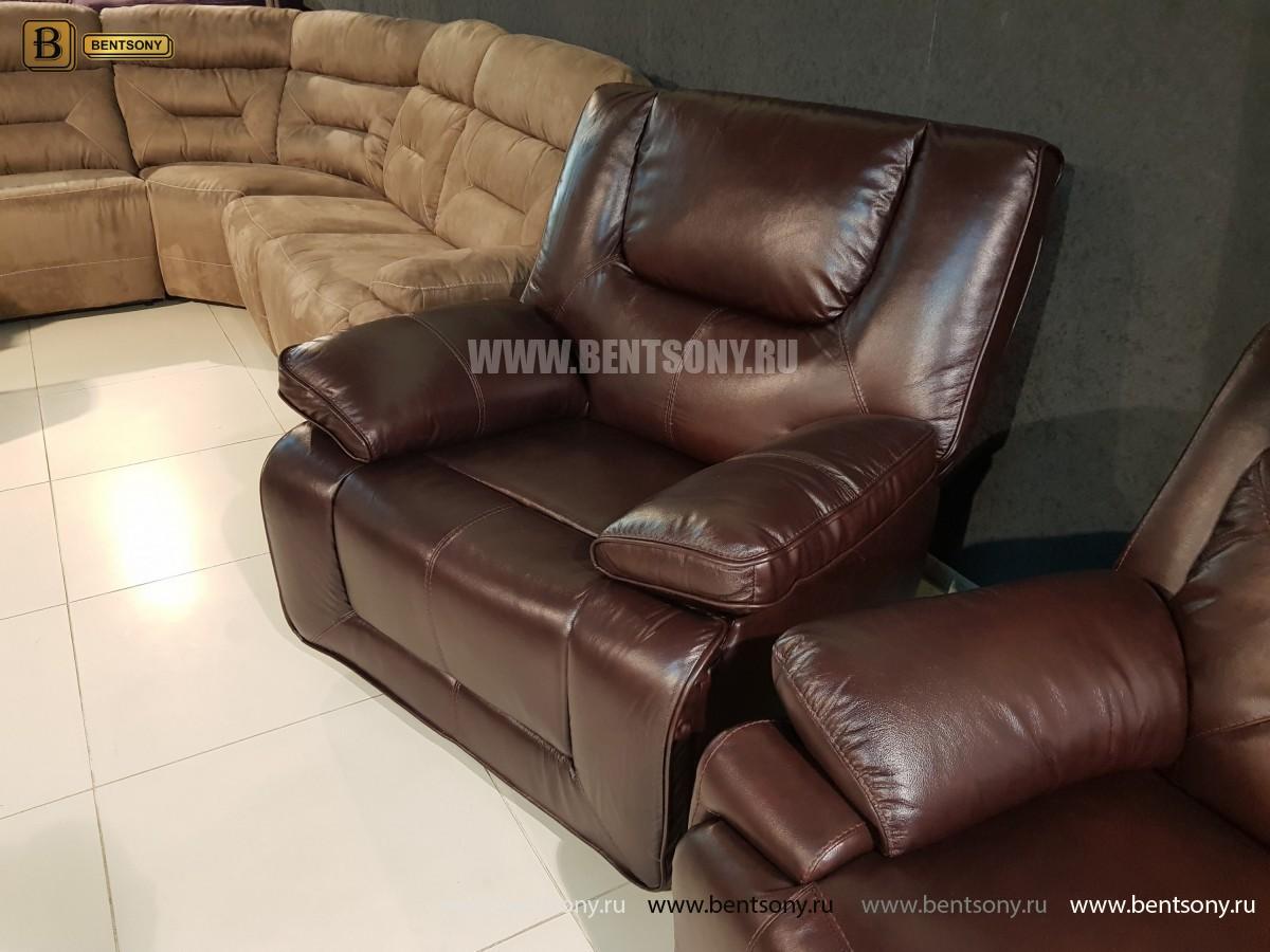 Кресло Прецо темно коричневое (Механизм качания, Натуральная Кожа) распродажа