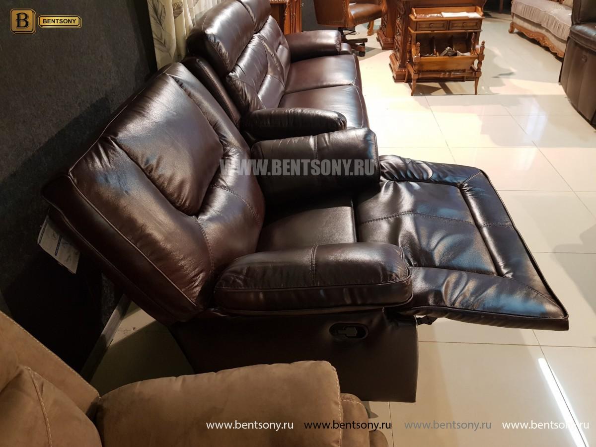 Кресло Прецо темно коричневое (Механизм качания, Натуральная Кожа) магазин