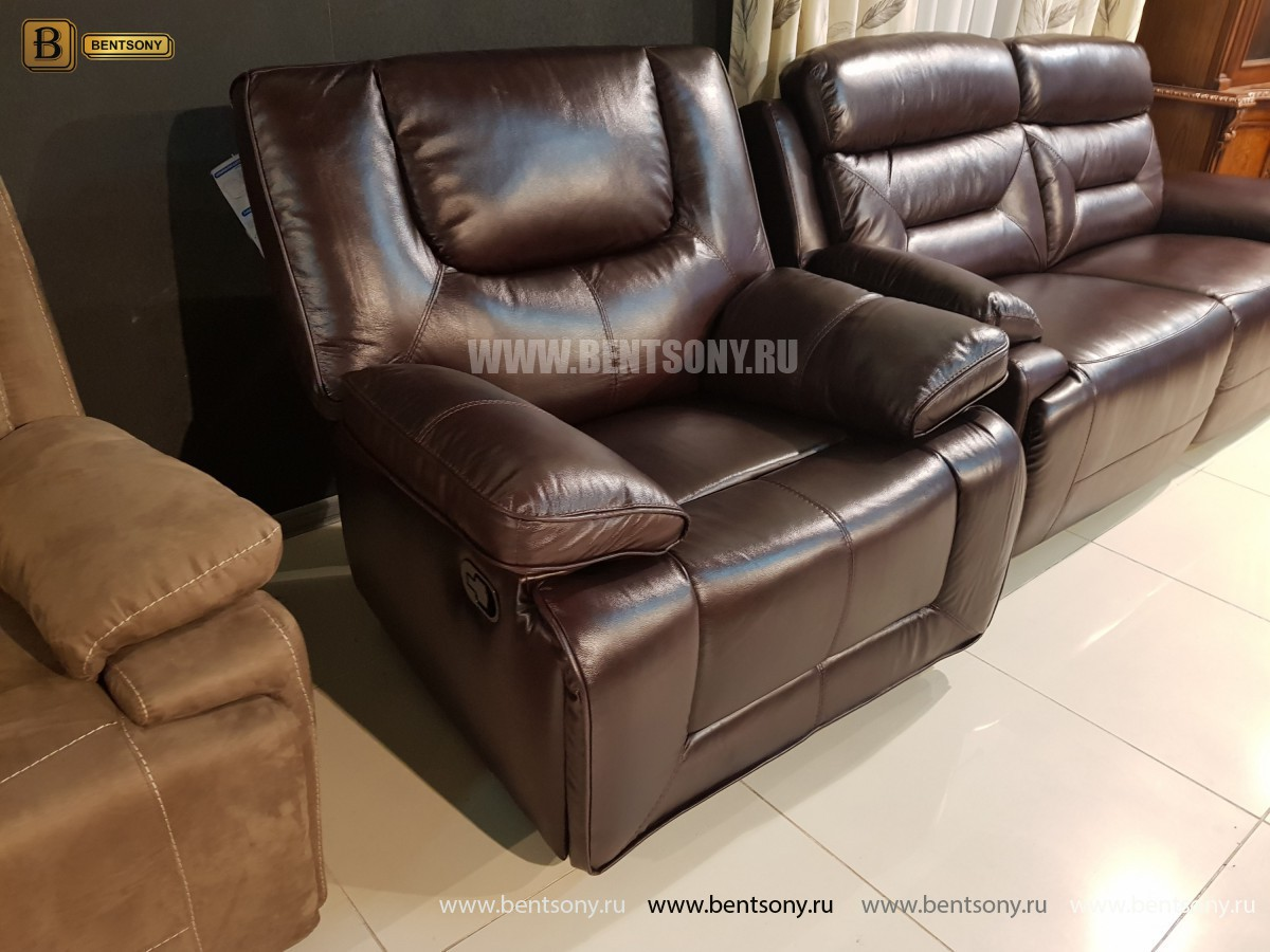Кресло Прецо темно коричневое (Механизм качания, Натуральная Кожа) каталог мебели с ценами