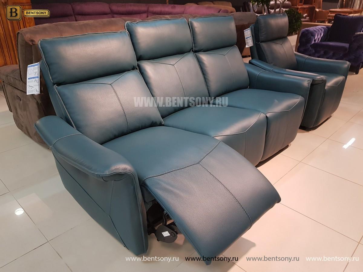 Кожаный Диван Анголо зеленый (Реклайнеры) каталог мебели