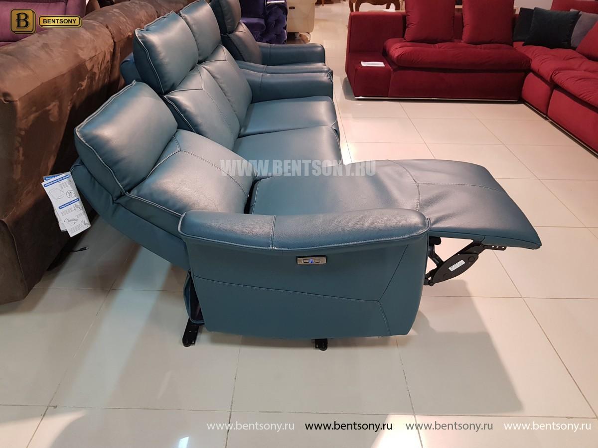Кожаный Диван Анголо зеленый (Реклайнеры) каталог мебели с ценами