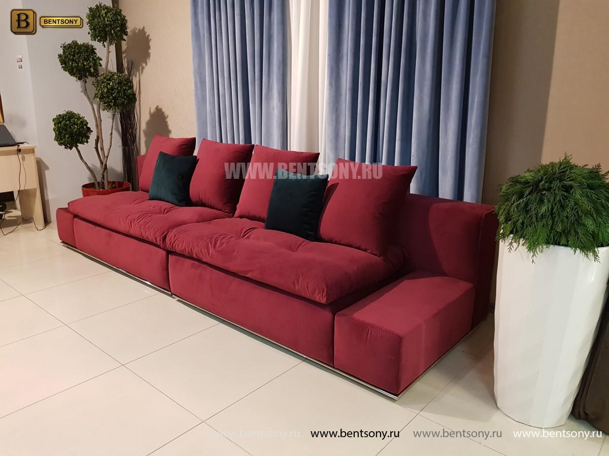 Диван Бениамино двойной, бордо (Прямой) для квартиры