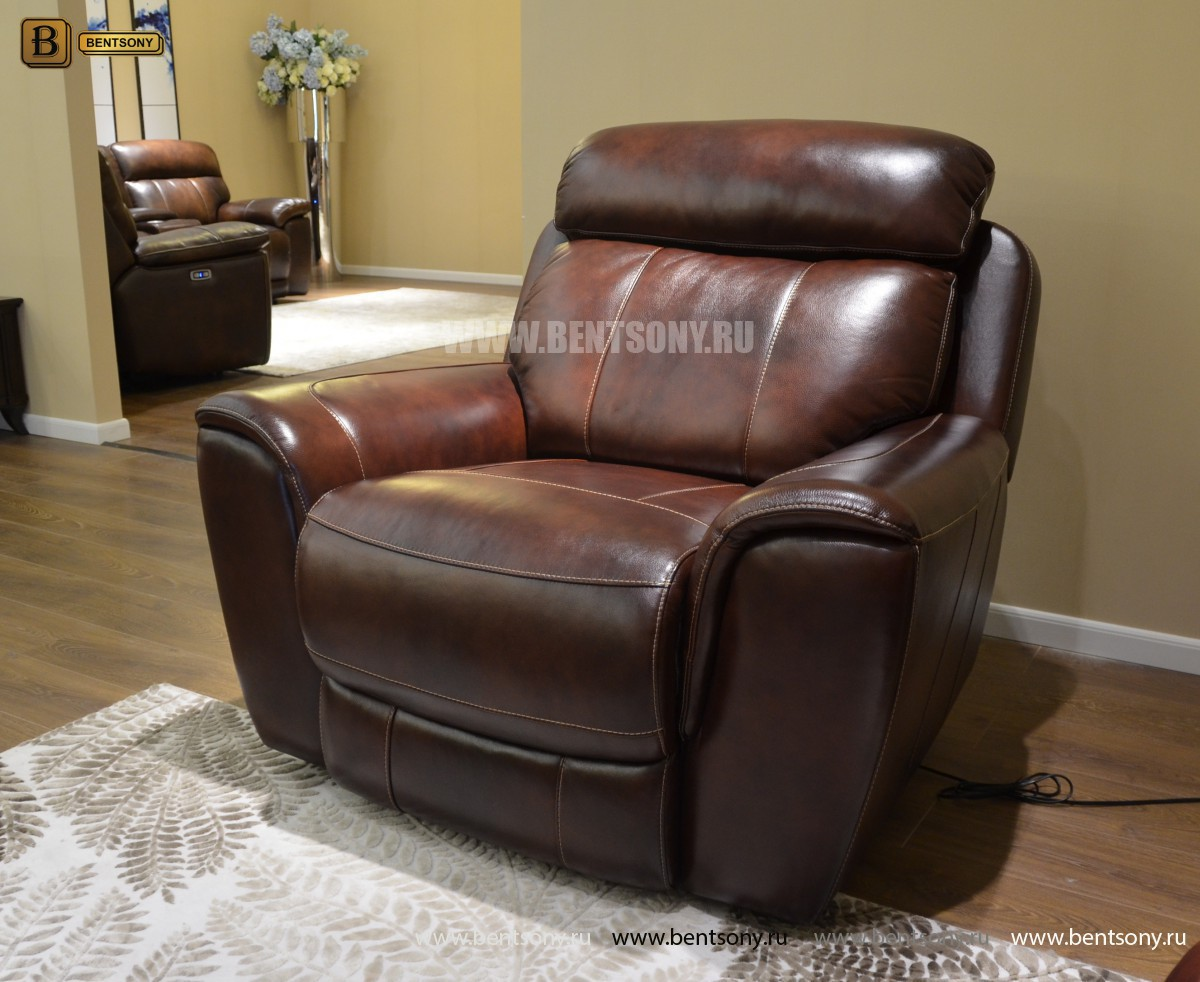 Кресло Болтон (Реклайнер, Натуральная кожа) в интерьере
