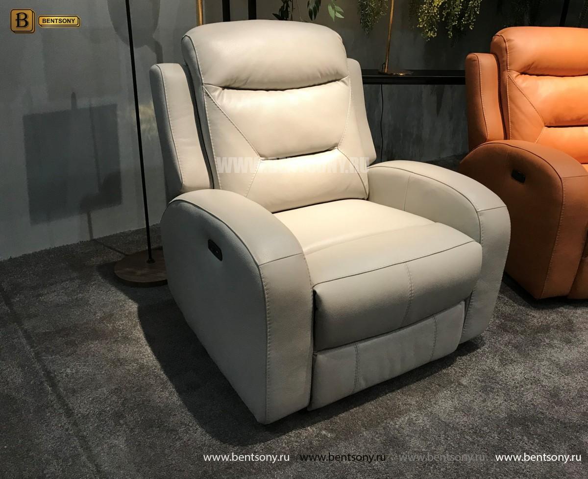 Кресло Ларедо светлое (Реклайнер, Натуральная Кожа) в СПб