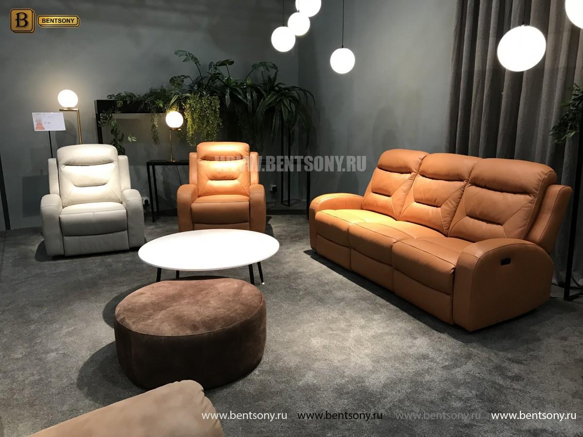 Кресло Ларедо светлое (Реклайнер, Натуральная Кожа) каталог мебели с ценами