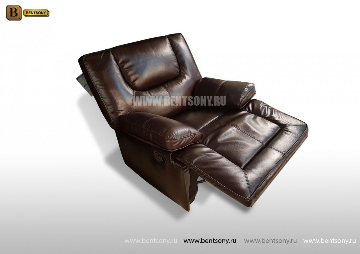 Кресло Прецо темно коричневое (Глайдер, Натуральная Кожа) в Москве