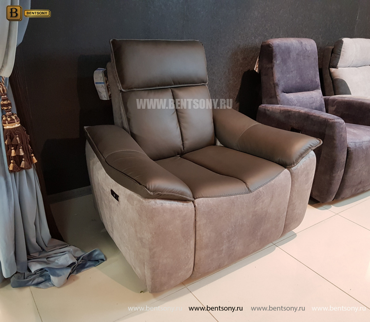 Кресло Портаро с реклайнером (Алькантара, Натуральная кожа) фото