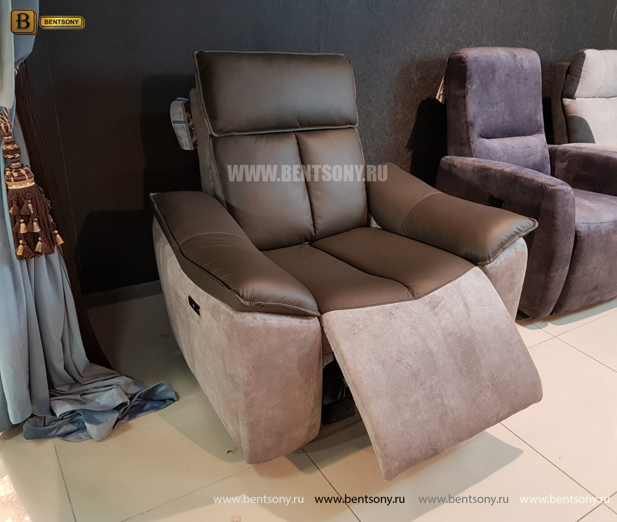 Кресло Портаро с реклайнером (Алькантара, Натуральная кожа) официальный сайт цены