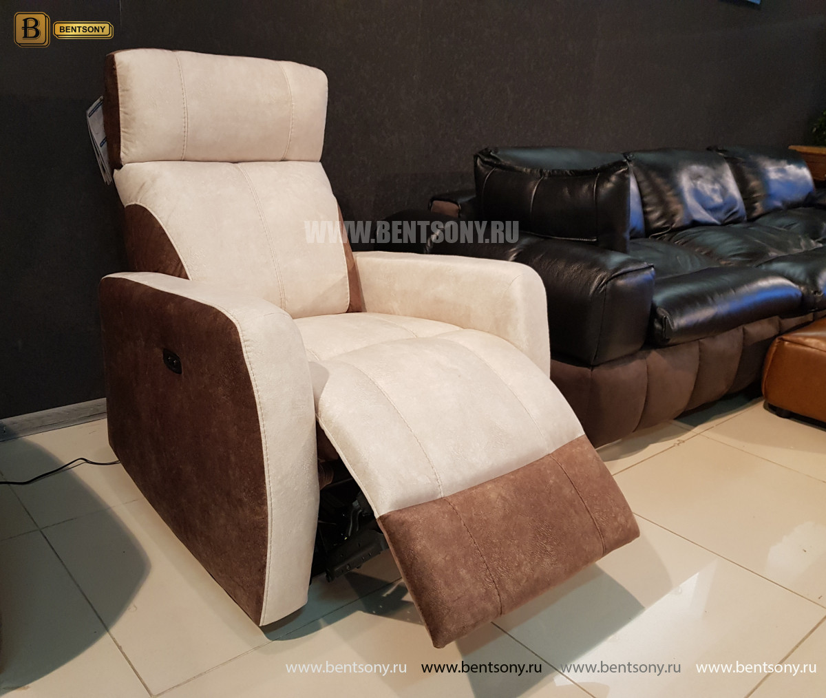 Кресло Эдвард с реклайнером (Алькантара) интернет магазин