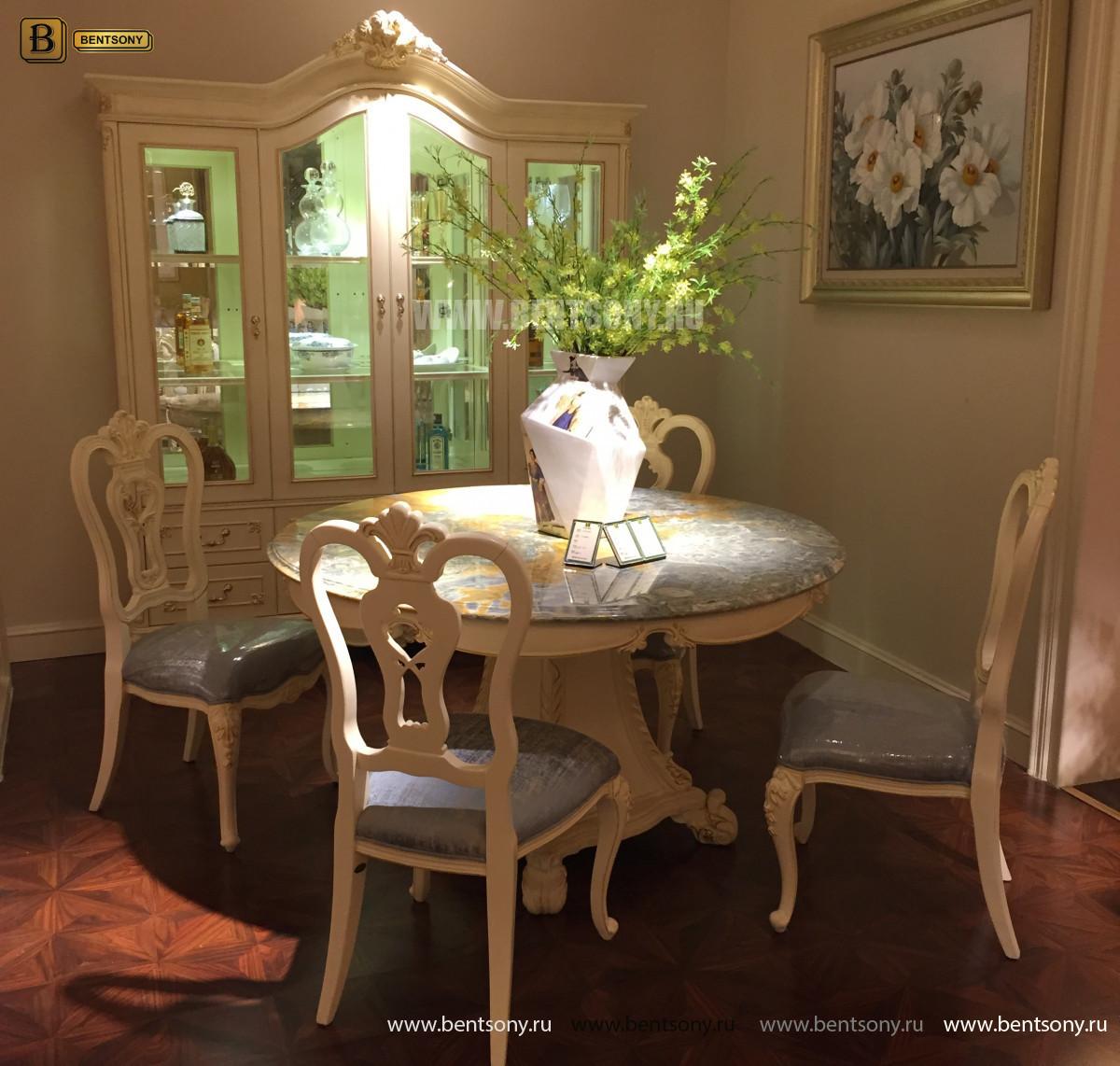 Столовая Митчел с круглым столом (Классика, мраморная столешница) изображение