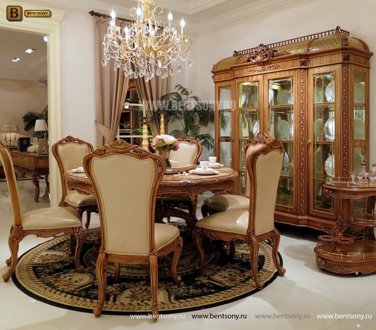 Столовая Белмонт с круглым столом (Классика, массив дерева) для загородного дома