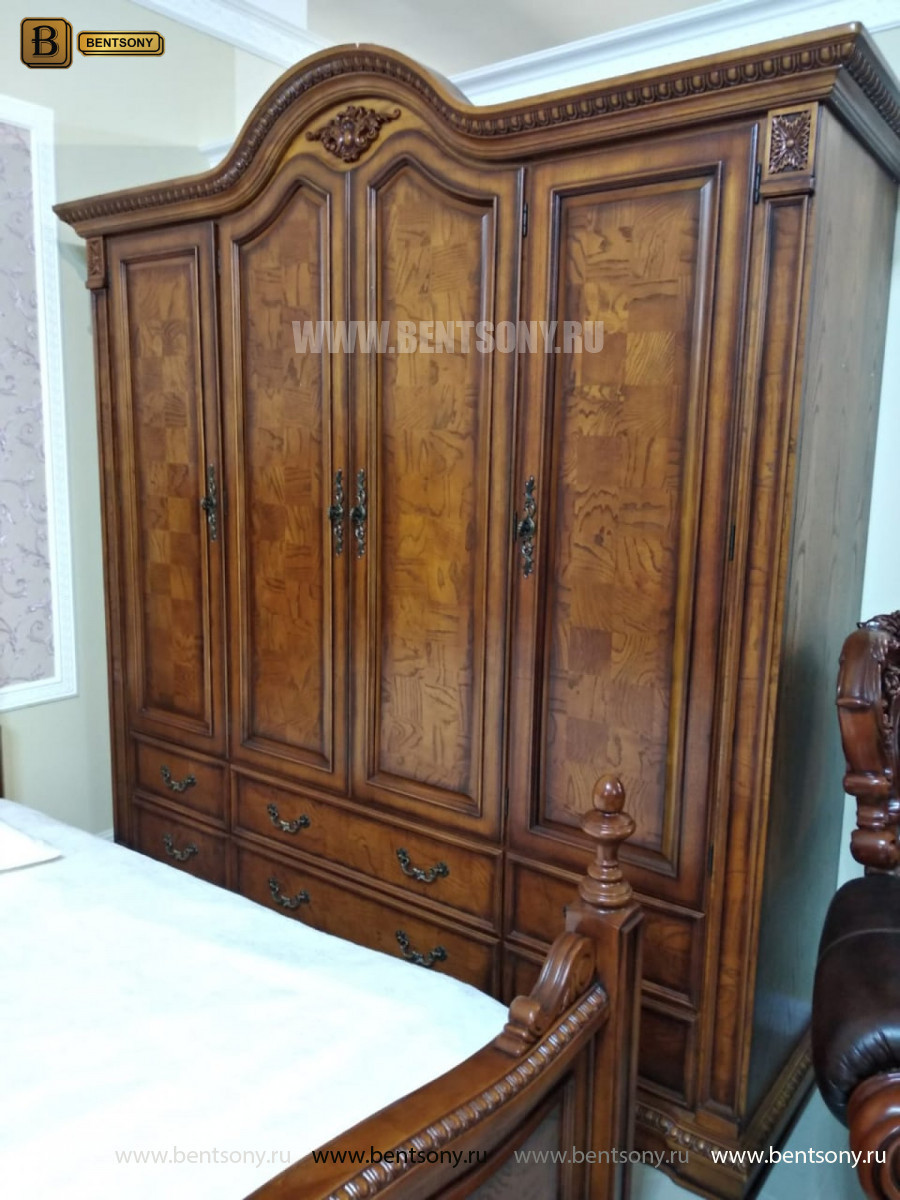 Шкаф 4-х дверный Монтана (Классика, массив дерева) каталог с ценами