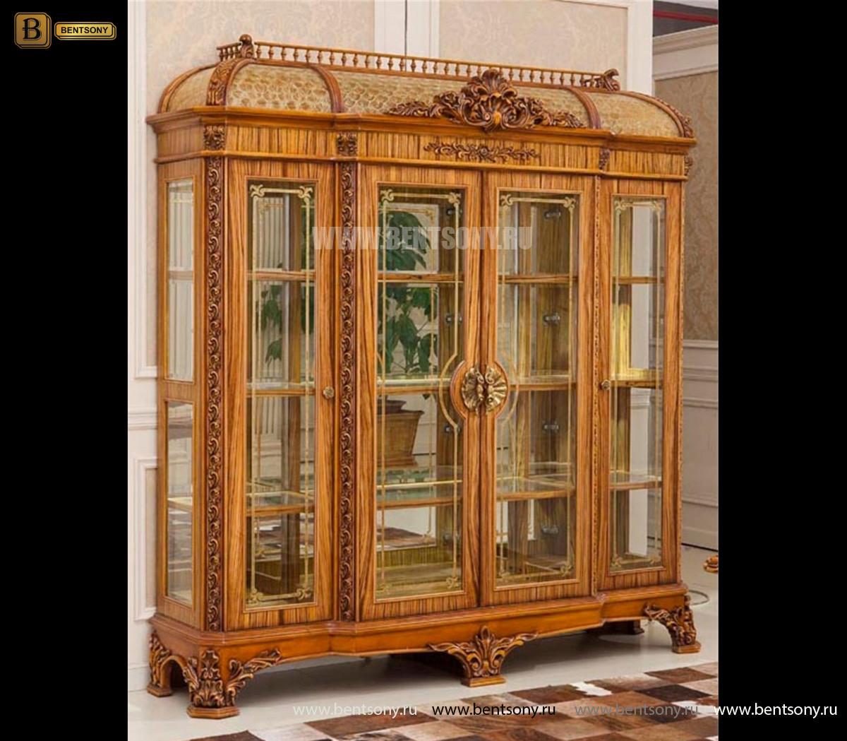 Витрина 4-х дверная Белмонт (Массив дерева, классика) в СПб