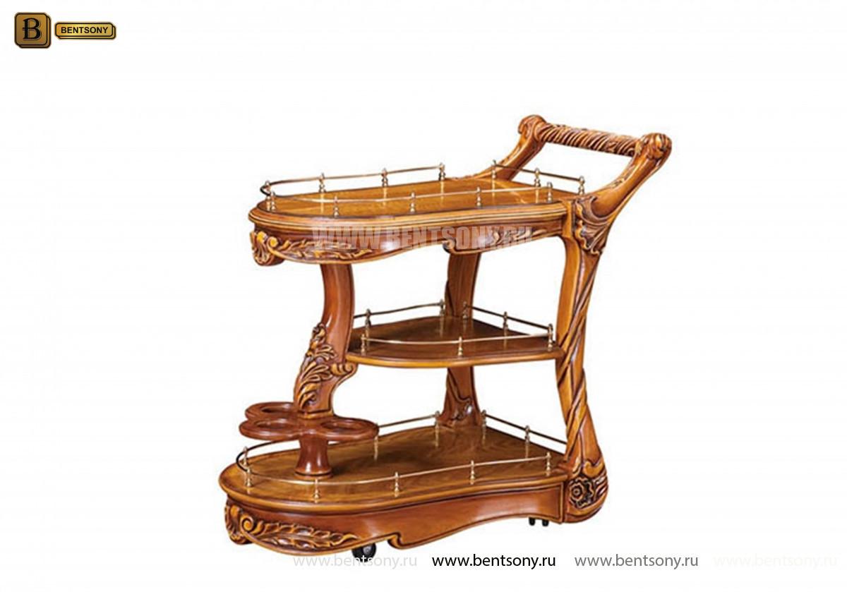 Сервировочный столик Белмонт на колесиках (Классика, массив дерева) в интерьере