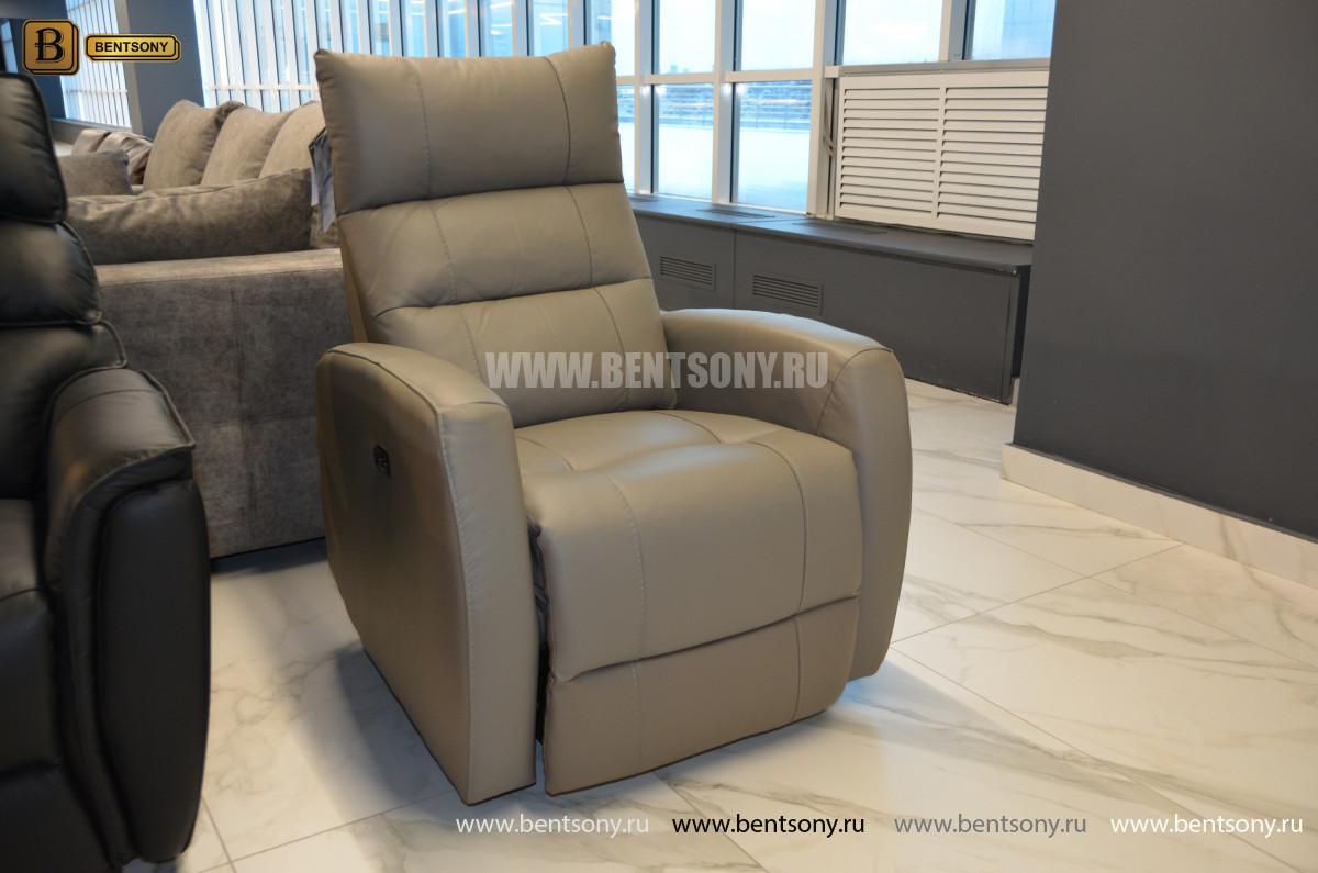 Кресло Лаваль в натуральной коже с реклайнером для загородного дома
